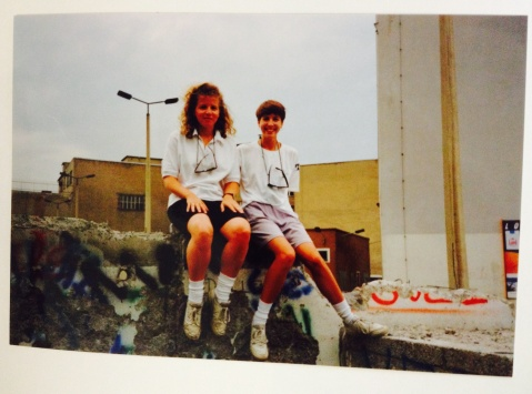 Annie and Cath on the Berlin Wall, July 1990